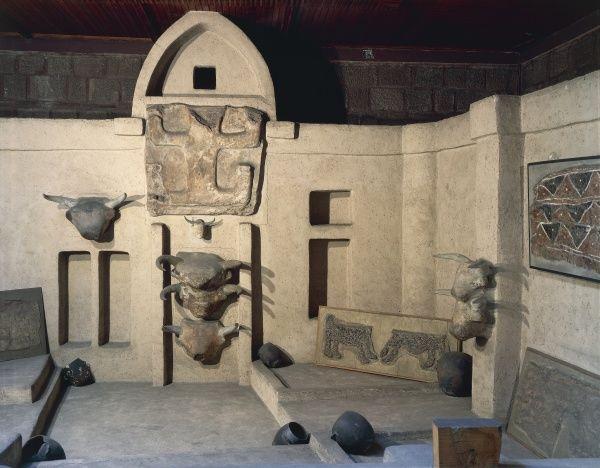 Reconstruction of Catal Huyuk or Catalhoyuk sanctuary