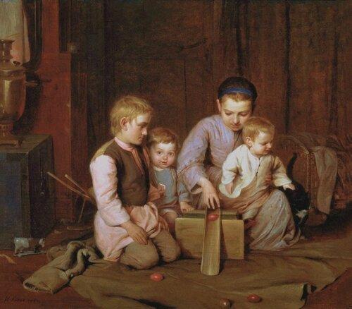 Кошелев Н.А. Дети, катающие пасхальные яйца. 1855