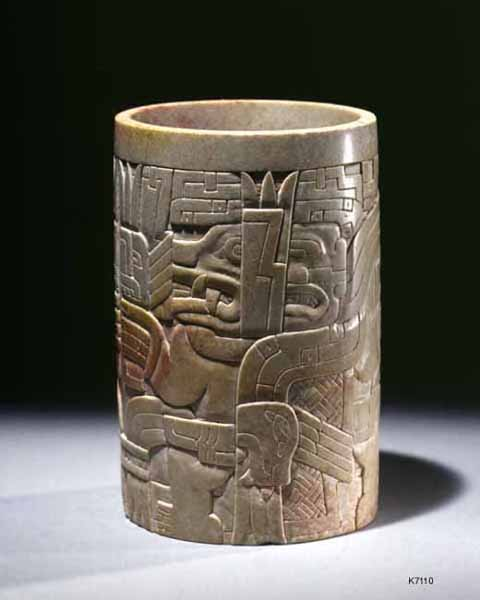 K7110 Chavin Stone cup with mythological serpent approx 6 inches high